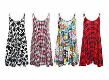 Ladies Girls New Tartan Comic Swing Checked Vest Long Striped Print Strap Dress