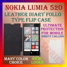 ACM-LEATHER DIARY FOLIO FLIP CASE COVER for NOKIA LUMIA 520 MOBILE FRONT & BACK