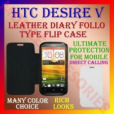 ACM-LEATHER DIARY FOLIO FLIP CASE COVER for HTC DESIRE V MOBILE FRONT BACK FLAP