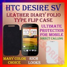 ACM-LEATHER DIARY FOLIO FLIP CASE COVER for HTC DESIRE SV MOBILE FRONT/BACK FLAP