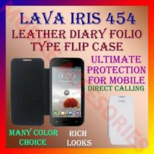 ACM-LEATHER DIARY FOLIO FLIP CASE for LAVA IRIS 454 MOBILE FRONT & BACK COVER