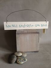 Vintage Wood Hanging Plaque Sign Shabby Chic Love Laugh Live Gift East of India