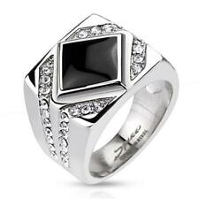Unisex Ring Stainless Steel Diamond-Shaped Onyx Clear Zirconia Jewelry
