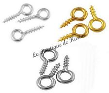 300 TIGES A VIS ATTACHES PERLES FIMO METAL ARGENTE OU DORE 10 mm CREATION BIJOUX