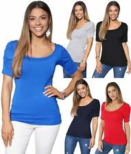 Womens Ladies Ruched Pleated Sleeve Plain Stretch Jersey Top T Shirt Party Work