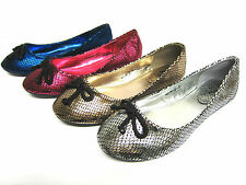 Girls Cutie Qt Slip On Metallic Snake Skin Effect Ballerina Shoes Bow Trim H2241