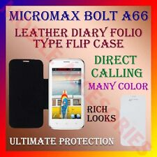 ACM-LEATHER DIARY FOLIO FLIP CASE for MICROMAX BOLT A66 MOBILE FRONT/BACK COVER