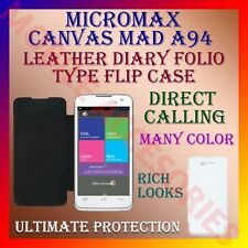 ACM-LEATHER DIARY FOLIO FLIP FLAP CASE for MICROMAX CANVAS MAD A94 MOBILE COVER