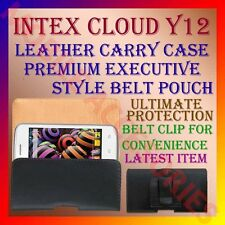ACM-BELT CASE for INTEX CLOUD Y12 MOBILE LEATHER CARRY POUCH COVER CLIP HOLDER