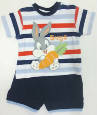 Infant Boys Baby Looney Tunes Navy Top and Shorts Set with Bugs Bunny Design