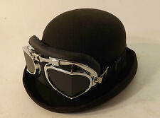 New Wool Felt Black Bowler Derby Hat Formal Events Steampunk Goggles Glasses