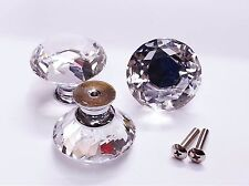 30mm **DIAMOND**Crystal Glass Door Knobs Drawer Cabinet Furniture Kitchen Hand