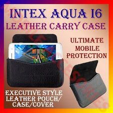 ACM-HORIZONTAL LEATHER CARRY CASE for INTEX AQUA I6 MOBILE POUCH COVER HOLDER