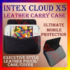 ACM-HORIZONTAL LEATHER CARRY CASE for INTEX CLOUD X5 MOBILE POUCH COVER HOLDER