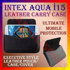 ACM-HORIZONTAL LEATHER CARRY CASE for INTEX AQUA i15 MOBILE POUCH COVER HOLDER