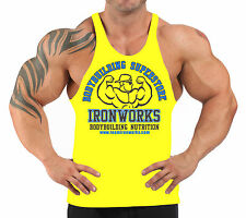 YELLOW TEAM IRONWORKS T-BACK BODYBUILDING VEST WORKOUT GYM CLOTHING H-88