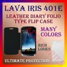 ACM-LEATHER DIARY FOLIO FLIP CASE for LAVA IRIS 401e MOBILE FRONT & BACK COVER