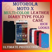 ACM-LEATHER DIARY FOLIO FLIP CASE for MOTOROLA MOTO X MOBILE FRONT & BACK COVER