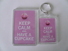 KEEP CALM AND HAVE A CUPCAKE Keyring or Fridge Magnet GIFT PRESENT IDEA