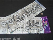Happy 25th Silver Wedding Anniversary Giant Party Banner 9ft / 2.7m New Sealed