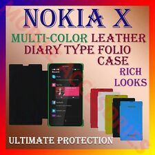 ACM-LEATHER DIARY FOLIO FLIP CASE COVER for NOKIA X ANDROID MOBILE FRONT & BACK