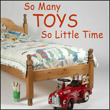 LARGE CHILDREN  WALL STICKERS SO MANY TOYS SO LITTLE TIME TRANSFER DECAL