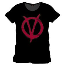 T-SHIRT V for VENDETTA TShirt Red Symbol V per VENDETTA LOGO 100% ORIGINALE