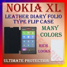 ACM-LEATHER DIARY FOLIO FLIP FLAP CASE for NOKIA XL MOBILE FRONT & BACK COVER