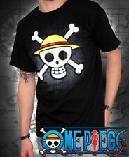 T-SHIRT ONE PIECE SKULL WITH MAP Black tshirt ONE PIECE teschio 100% ORIGINALE