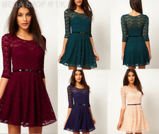 4 Colours Womens Sexy Spoon Neck 3/4 Sleeve Lace Skater Dress Belt Include A001