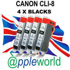 4 Canon CLI8 BLACK Chipped Compatible Ink Cartridges