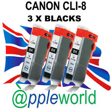 3 Canon CLI8 BLACK Chipped Compatible Ink Cartridges - UK SELLER