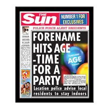 Personalised The Sun BIRTHDAY Newspaper Print in Folder or Frame - add name, age