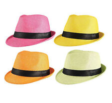 GANGSTER STRAW HAT #PINK / YELLOW / ORANGE / GREEN FANCY DRESS COSTUME ACCESSORY