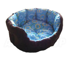 Soft Pet Bed Dog Cat Puppy Kitten - Blue and Brown Reversible - Various Sizes