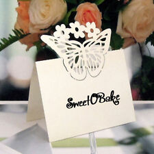Laser-Cut Butterfly wedding Place Name Cards in White or Ivory pack of 50