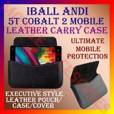 ACM-HORIZONTAL LEATHER CARRY CASE for IBALL ANDI 5T COBALT 2 MOBILE POUCH COVER