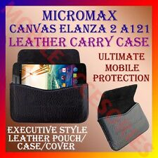 ACM-HORIZONTAL LEATHER CARRY CASE for MICROMAX CANVAS ELANZA 2 A121 POUCH COVER