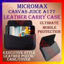 ACM-HORIZONTAL LEATHER CARRY CASE for MICROMAX CANVAS JUICE A177 POUCH COVER NEW