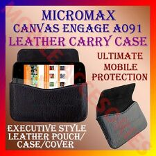 ACM-HORIZONTAL LEATHER CARRY CASE for MICROMAX CANVAS ENGAGE A091 POUCH COVER