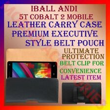 ACM-BELT CASE for IBALL ANDI 5T COBALT 2 MOBILE LEATHER CARRY POUCH COVER CLIP