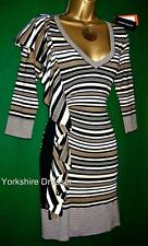 New KAREN MILLEN Brown White Stripe Stretch Ruffle KNIT BodyCon Dress - Uk 10 12