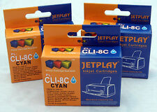 3 Canon CLI8 CYAN Chipped Compatible Ink Cartridges - UK SELLER