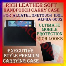 ACM-RICH LEATHER SOFT CARRY CASE of ALCATEL ONETOUCH IDOL ALPHA 6032 COVER POUCH