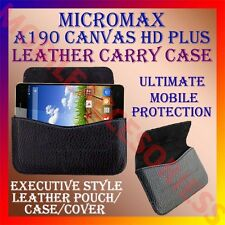 ACM-HORIZONTAL LEATHER CARRY CASE for MICROMAX A190 CANVAS HD PLUS POUCH COVER