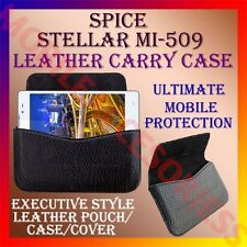ACM-HORIZONTAL LEATHER CARRY CASE for SPICE STELLAR MI-509 MOBILE POUCH COVER