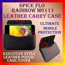 ACM-HORIZONTAL LEATHER CARRY CASE for SPICE FLO RAINBOW M6111 MOBILE COVER POUCH