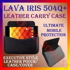ACM-HORIZONTAL LEATHER CARRY CASE for LAVA IRIS 504Q+ MOBILE POUCH PREMIUM COVER