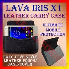 ACM-HORIZONTAL LEATHER CARRY CASE for LAVA IRIS X1 MOBILE POUCH PREMIUM COVER