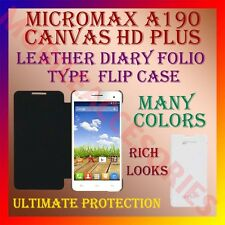 ACM-LEATHER DIARY FOLIO FLIP CASE for MICROMAX A190 CANVAS HD PLUS MOBILE COVER
